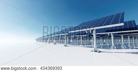 Solar photovoltaic panels array system. Clean and sustainable energy technology - power and electricity 3d render