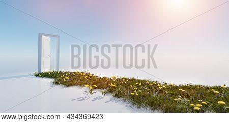 Green grass way to open door on sunny sky. Hope, new life, change concept. 3d render