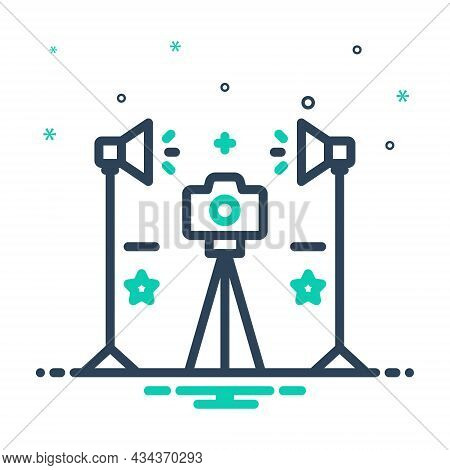 Mix Icon For Studio Workshop Workroom Photo Camera Digital Photographic Photographer Light Flash Len