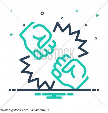Mix Icon For Conflict Quarrel Struggle Rigid Stiff Punch Fight Bump Boxing Pugilism Fisticuffs Dude