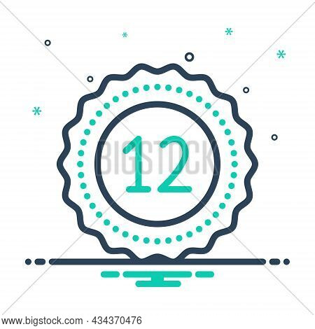 Mix Icon For Twelve Fulfillment Digit Mathematical Calculated Dozen Zodiac Numerical Number Letter C