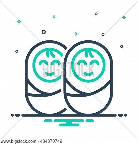 Mix Icon For Twin Dual Double Baby Duplicate Twain Dyad Coequal Common Equal Kid Newborn