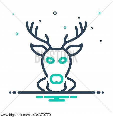 Mix Icon For Buck Deer Stag Reindeer Animal Head Decorative Haunting Heraldic Wild Horn
