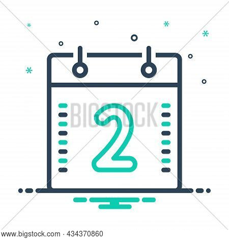 Mix Icon For Two Calendar Geometric Digit Mathematical Calculated Numerical Number Letter Count Date