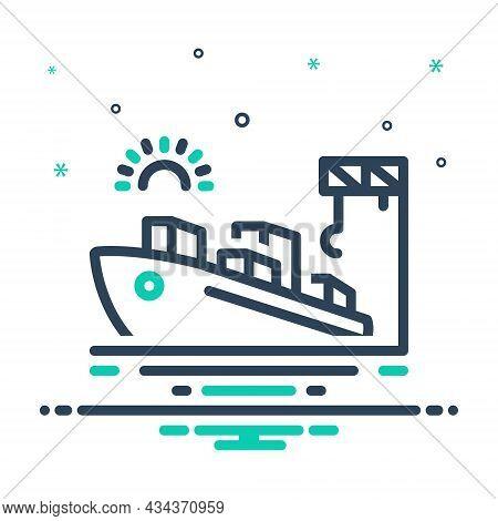 Mix Icon For Port Seaport Harbor Wharf Dockyard Ship Cargo Maritime Terminal