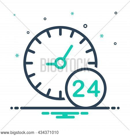 Mix Icon For Any All Each Several Hour Twenty-four-hours Clock Time Day Service Helpline Sign
