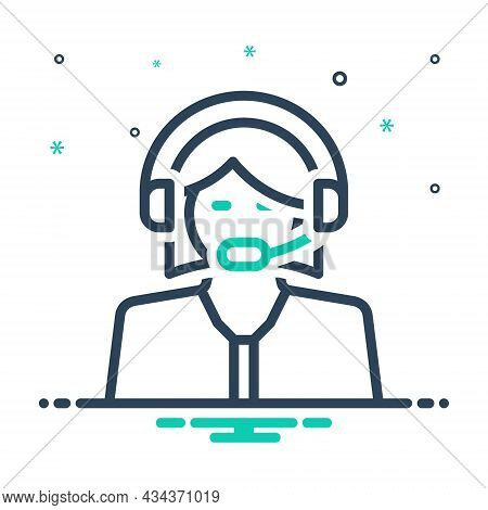 Mix Icon For Assistant Assistant Subsidiary Auxiliary Accessory Helper Headphone Operator Telemarket