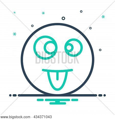 Mix Icon For Crazy Mad Insane Silly Wacky Brainsick Emoji Funny Goofy Caricature Tongue