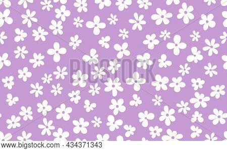 Floral Seamless With Hand Drawn Color Flowers. Cute Summer Background. Modern Floral Compositions. F