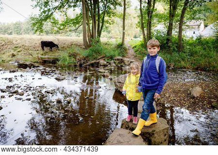 Two Little Children Hiking In Forest. Kid Boy And Toddler Girl Passing Creek. Happy Healthy Kids Hav