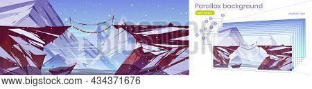 Parallax Game Background Winter 2d Layered Landscape With Mountain Suspended Rope Bridge Above Deep