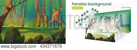Parallax Background Swamp In Forest, 2d Landscape Oozy Green Water Pond In Deep Wood. Ui Interface O