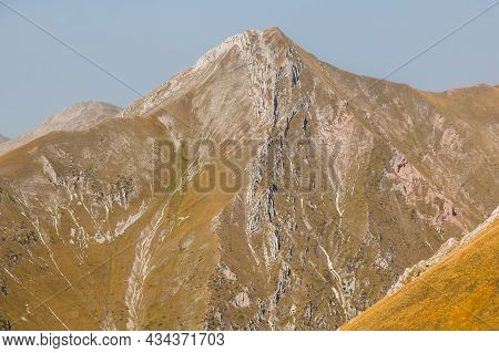 View Of High Massif Of Pizzo Berro In The National Park Of Monti Sibillini, Marche Region, Italy
