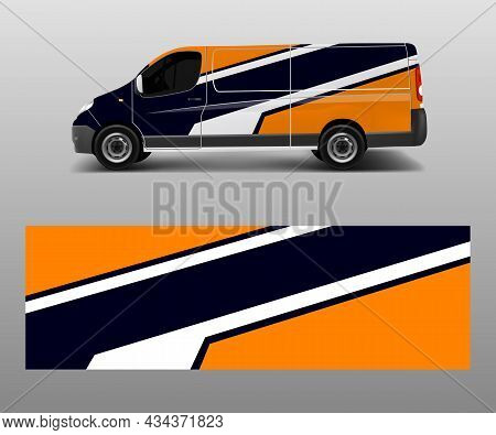 Car Graphic Abstract Stripe Designs Vector. Abstract Lines Design Concept For Truck And Vehicles Van