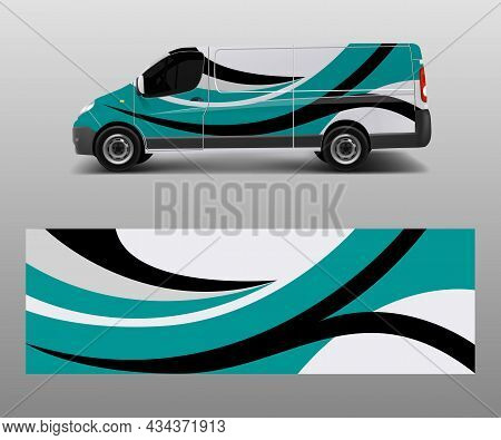 Cargo Van Decal With Green Wave Shapes , Truck And Car Wrap Vector, Graphic Abstract Stripe Designs