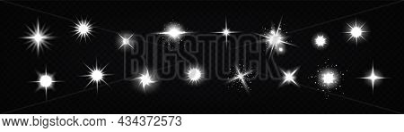 Star Light Glow, , Shiny Vector Glare, Bright White Twinkle Or Explosion Effect With Radiant Beams.
