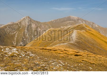 Panoramic View From Passo Cattivo Of Pizzo Berro In The Left And Monte Priora In The Right, National