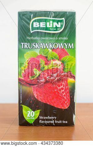 Pruszcz Gdanski, Poland - June 28, 2021: Belin Strawberry Flavored Fruit Tea.