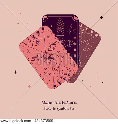 Tarot Cards Are Fanned Out. An Example Of Esoteric Objects And Symbols. Opening Of Third Eye Of Soul