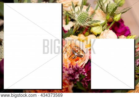 Mock-up Wedding Flower Rose Bouquet With White Sheet Paper Empty Space For Marriage Text Mock Up