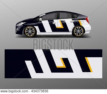 Car Decal Graphic Vector Wrap Vinyl Sticker. Graphic Abstract Wave Shape Designs For Branding, Race