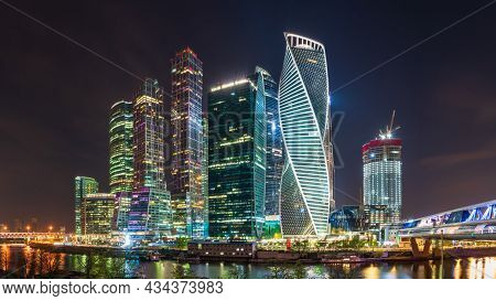 Moscow City At Nihgt. Modern Skyscrapers In Moscow-city Downtown, Federation Tower, Mercury Tower Et