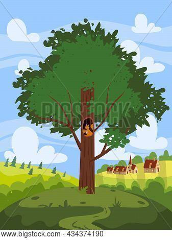 Green Tree Oak, Beautiful Country Rural Landscape, Farm, Village On Backgriund. Summer, Spring Seaso