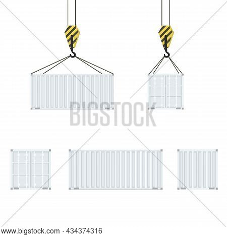 Cargo Container Set With Back Front And Side View. Freight Shipping Container Hanging On Crane Hook.