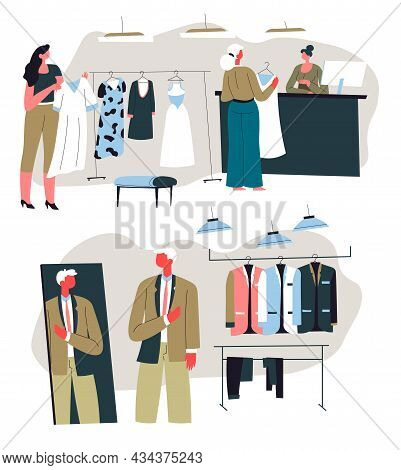 Boutique With Modern Clothes And Stylish Apparel