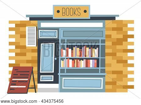 Stall And Shop, Market Of Kiosk With Books Vector