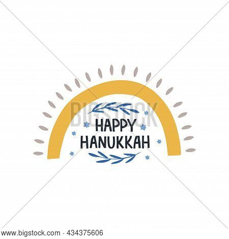 Hanukkah Vector Celebration Typography. Holiday Greeting Card. Happy Hanukkah Quote. Chanukah Wishes