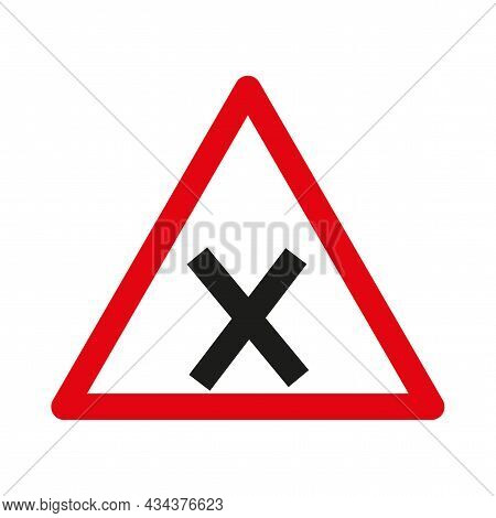Intersection Of Equivalence Road Icon. Information Warning Sign. Road Traffic. Vector Illustration.