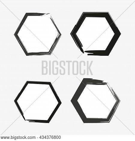 Black Grunge Hexagon Frame Set. Abstract Geometry Figure. Ink Art. Hand Drawing Design. Vector Illus