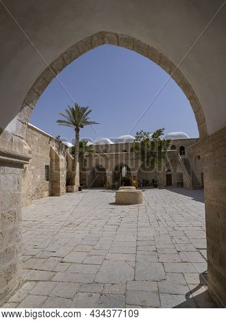 Nabi Musa, Israel - September 26th, 2021: The Entrance To The Prophet Moses Mausoleum In The Judea D