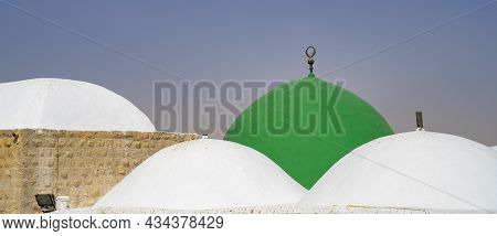 Nabi Musa, Israel - September 26th, 2021: Domes Of The Prophet Moses Mausoleum In The Judea Desert,