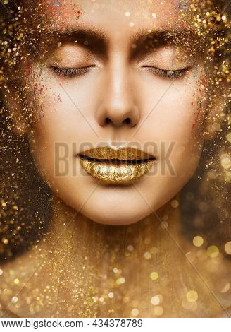 Gold Lip Gloss Make Up Closeup. Beauty Model Face Portrait With Closed Eyes And Golden Sparkles On S