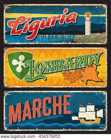 Liguria, Lombardy, Marche Italian Regions Vintage Plates And Stickers. Italy Travel Destination Vect