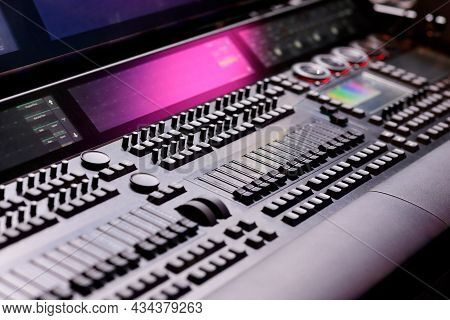 Keys, Faders, Encoders, And Screens On The Lighting Control Console. Selective Focus.