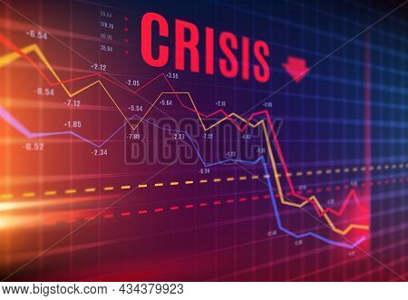 Crisis Or Stock Crash On Market, Loss Trading And Investment Indicators Downturn, Vector. Stock Exch