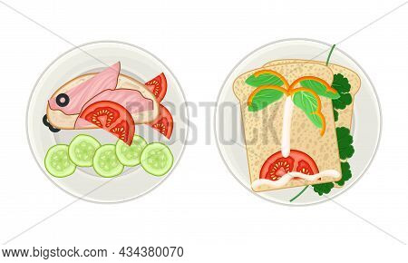 Creative Sandwiches Served On Plates Set. Serving Ideas For Healthy Breakfast For Kids Cartoon Vecto