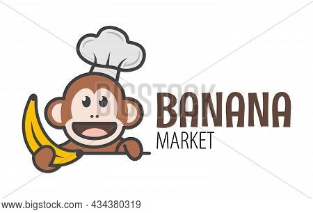 A Cute Monkey Is Holding A Banana. Logo For The Banana Market. Funny Icon With A Ape.