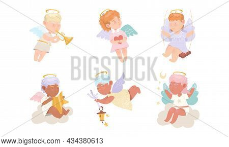 Baby Angels Cupidons Set. Lovely Kids Cupids With Wings Cartoon Vector Illustration
