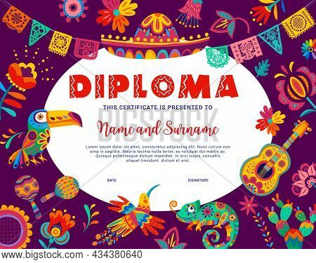 Kids Diploma With Mexican Sombrero, Guitar And Toucan, Chameleon, Hummingbird And Flowers. Kindergar