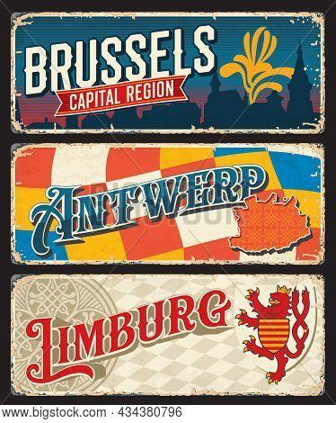 Brussels, Limburg And Antwerp Belgian Regions Vintage Plates And Travel Stickers, Vector. Belgium Ci