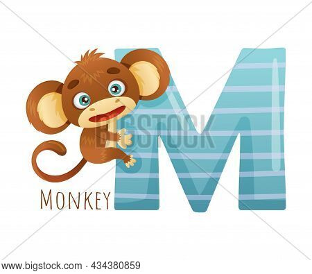 M Letter And Cute Monkey Baby Animal. Zoo Alphabet For Children Education, Home Or Kindergarten Deco