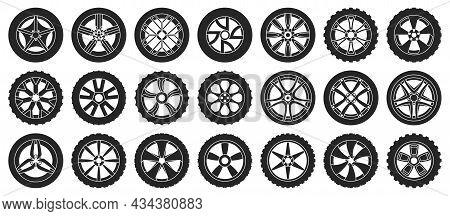Car Wheels Isolated Black Set Icon. Vector Illustration Vehicle Tire On White Background.black Vecto