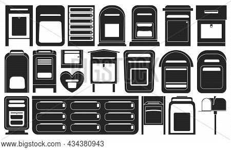 Mailbox Vector Black Set Icon. Letterbox Isolated Black Set Icon. Vector Illustration Mailbox On Whi