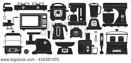 Kitchen Equipment Black Vector Set Icon. Isolated Black Set Icon Household Appliance. Vector Illustr