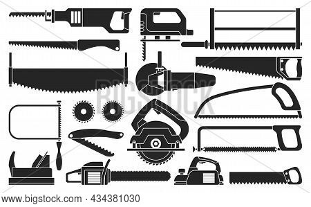 Saw Of Blade Vector Black Set Icon. Vector Illustration Carpentry Tool On White Background .isolated