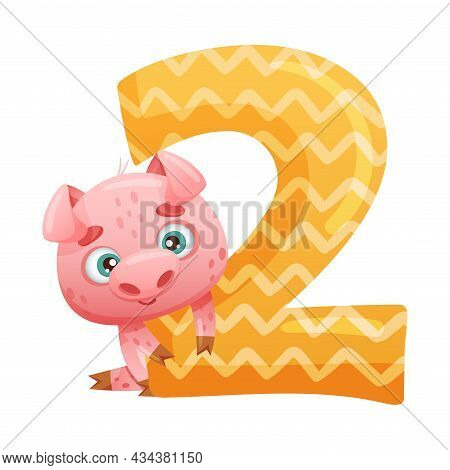 2 Number And Cute Pig Baby Animal. Educational Numbers For Children, Home Or Kindergarten Decor Cart